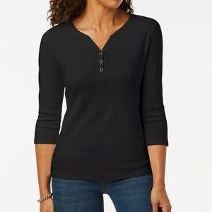 Karen Scott Cotton Henley Top Blouse Shirt Black